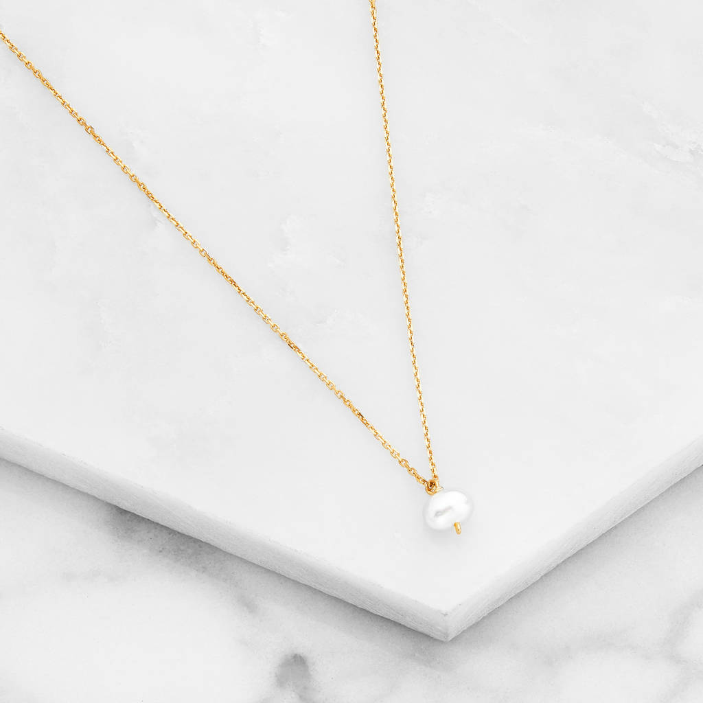 Rose silver or gold single pearl pendant necklace by lily roo rose silver or gold single pearl pendant necklace mozeypictures Choice Image