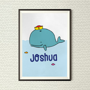 Personalised Blue Whale Kids Print