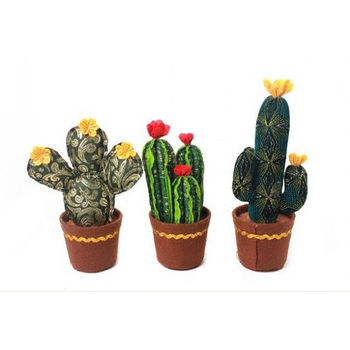 Set Of Three Fabric Cactus Plants