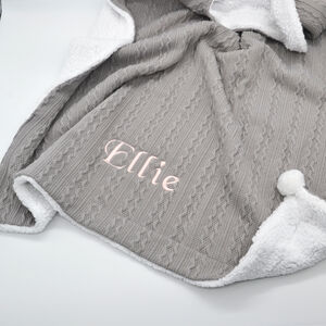 Personalised Grey Knitted Blanket With Pom Pom