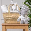 Personalised New Baby Gift Basket With Grey Elephant
