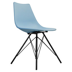 Oslo Chair Blue With Black Metal Legs - dining chairs