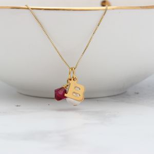 Birthstone Crystal And Letter Charm Necklace
