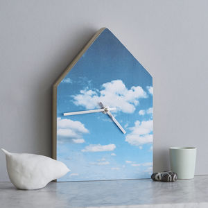 Blue Cloudy Sky House Childrens Wall Clock - clocks