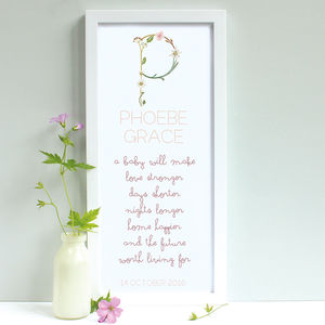 Personalised Little Flowers New Baby Framed Print