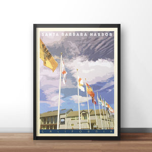 Santa Barbara Harbor Vintage Style Travel Print