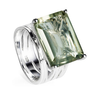 Sterling Silver Cocktail Ring Green Amethyst Gemstone