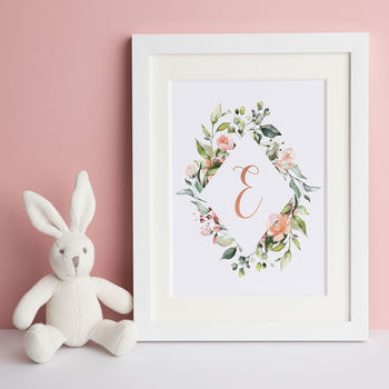Personalised Watercolour Floral Initial Print