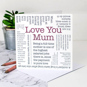 Birthday Card For Mums; 'Love You Mum'
