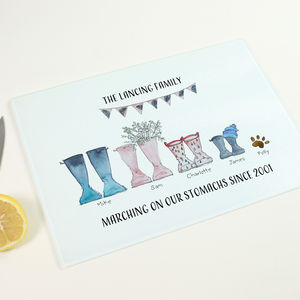 Personalised Welly Boot Chopping Board - kitchen