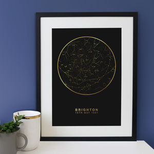 Black And Gold Personalised Map Of The Stars - posters & prints