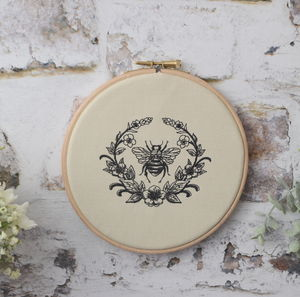 Embroidered Wreath Bee Embroidery Hoop - textile art
