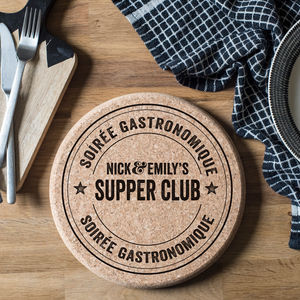 Personalised Bistro Cork Trivet - gifts for him sale