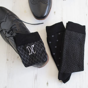 Set Of Three Embroidered Monogrammed Socks