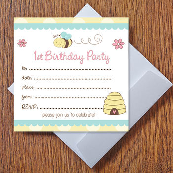 1st Birthday Bumble Bee Party Invitations