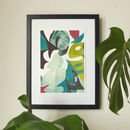 Green Tropical Leaves Abstract Collage Print A4 A2