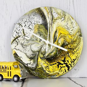 Abstract Painting Clock In Yellows - new in home