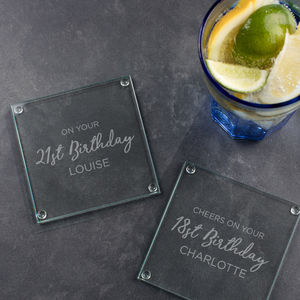 Personalised Glass Birthday Coaster - placemats & coasters