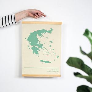 Cotton Anniversary Map Print - frequent traveller