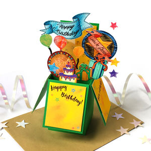 Personalised 3D Pop Up Birthday Box Card Green - birthday cards