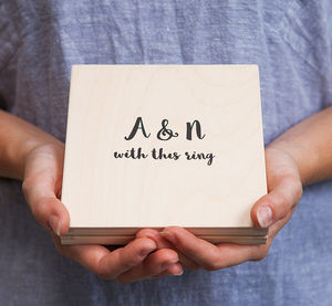 Personalised Modern Calligraphy Wedding Ring Box - boxes, trunks & crates