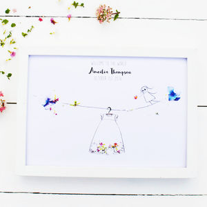Personalised 'Welcome To The World' Baby Girl Print
