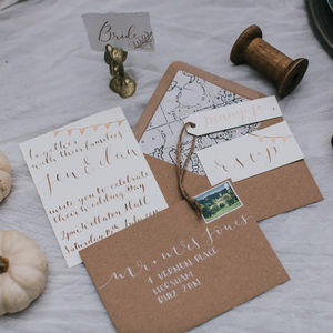 Walnut Ink And Copper Calligraphy Invitation