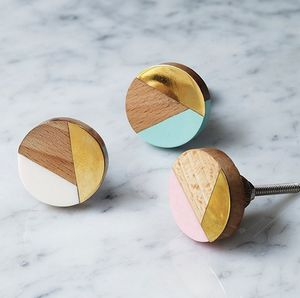 Geometric And Brass Knobs - door knobs & handles
