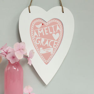 Personalised New Baby Heart Framed Print