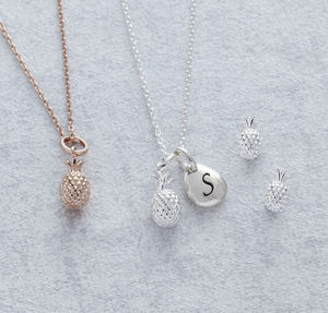 Personalised Pineapple Necklace And Earrings