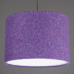 Purple Harris Tweed Wool Lampshade - bedroom