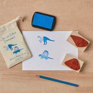 Dinosaur Rubber Stamp Set Iguanodon And Dimetrodon