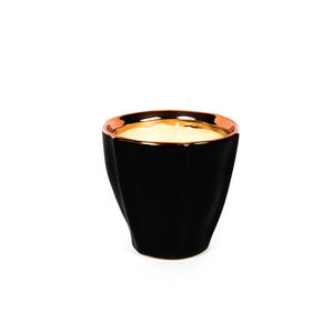 Scented Black And Rose Gold Flute Pot Candle