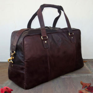 Brown Leather Holdall Travel Bag Gym Bag 20% Off - bags