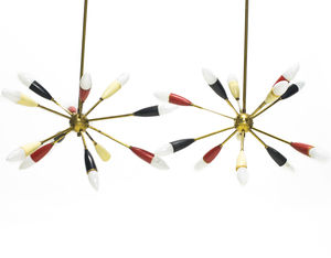 Pair Of Vintage Brass Sputnik Chandeliers - chandeliers