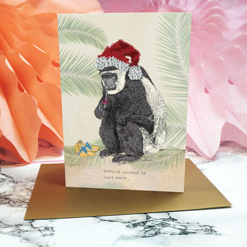 'Saharan Christmas' Leonard The Monkey Card