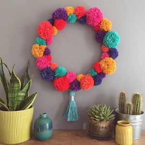 Handmade Bright Pom Pom Wreath - wreaths