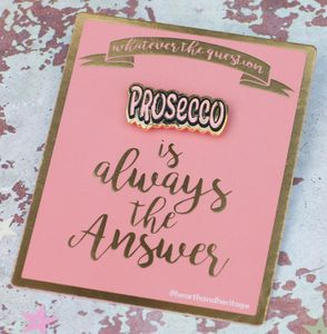 Prosecco Pin Brooch On Foiled Gift Card