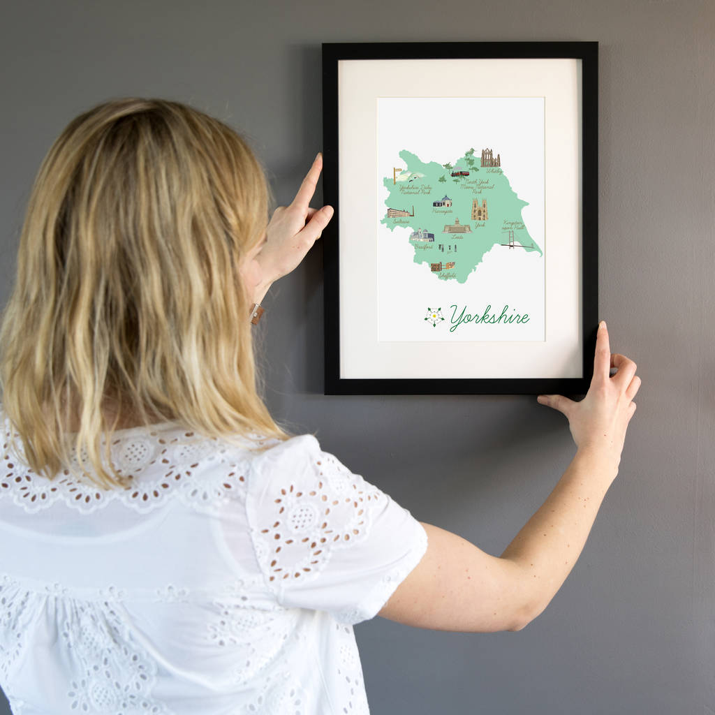 Yorkshire County Map Illustration Print