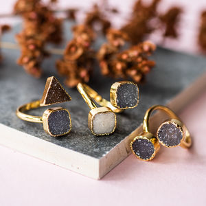Double Druzy Ring - rings