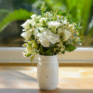 Vintage White Mason Flower Jar - fresh & alternative flowers