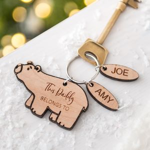 Daddy Bear Personalised Keyring - sale