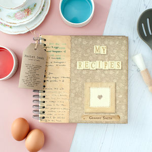 Personalised Vintage Style Recipe Book In Gift Box - baking
