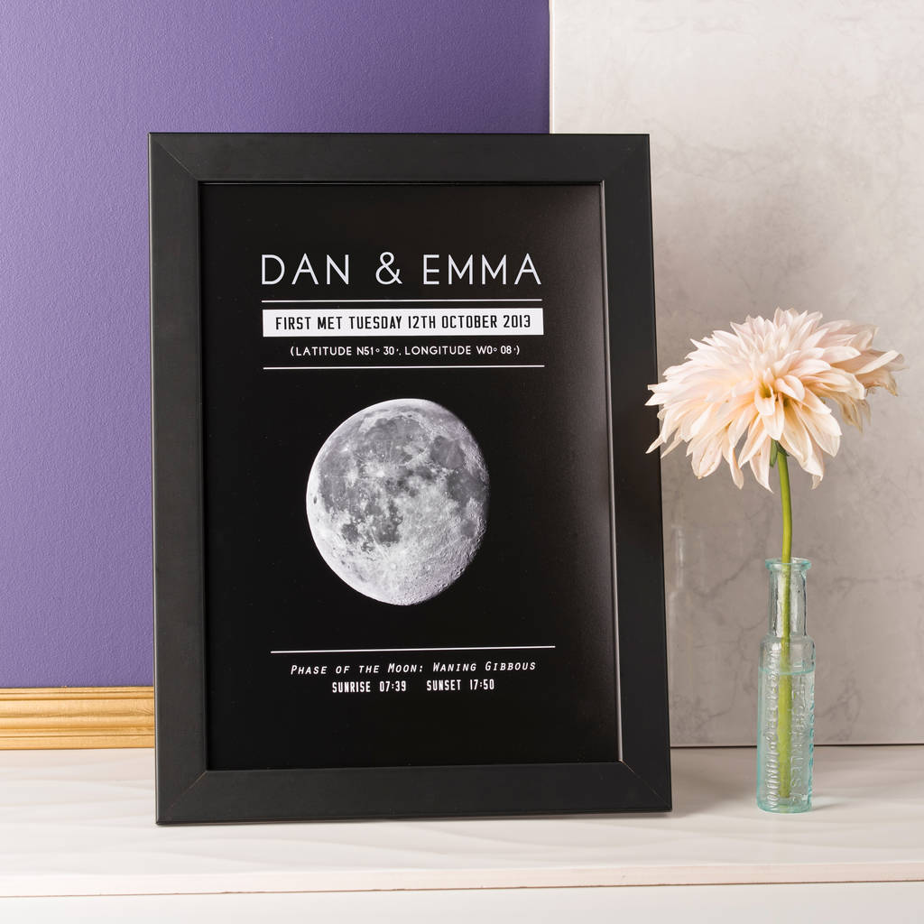 personalised moon phase significant date print by oakdene designs