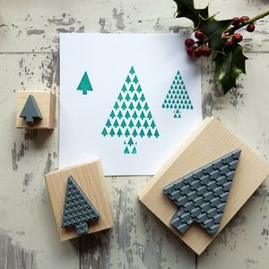 Christmas Geometric Trees Rubber Stamp - ribbon & wrap