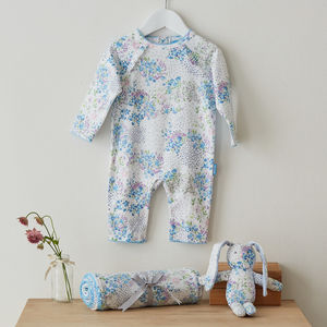 Posy Print Babygrow, Wrap And Bunny Gift Set - clothing