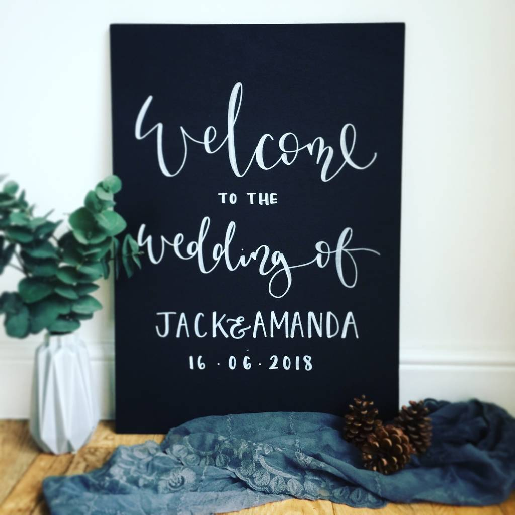 Home Design Ideas Blackboard: Personalised Chalkboard Wedding Welcome Sign By Mee And Es