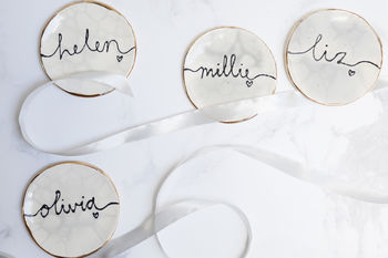 Personalised Marble Bridesmaid Jewellery Dishes