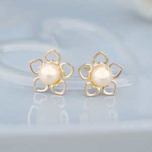9ct Gold Flower Of Hearts Pearl Studs - earrings