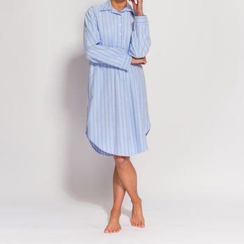 Women's Nightshirt In Blue And White Striped Flannel